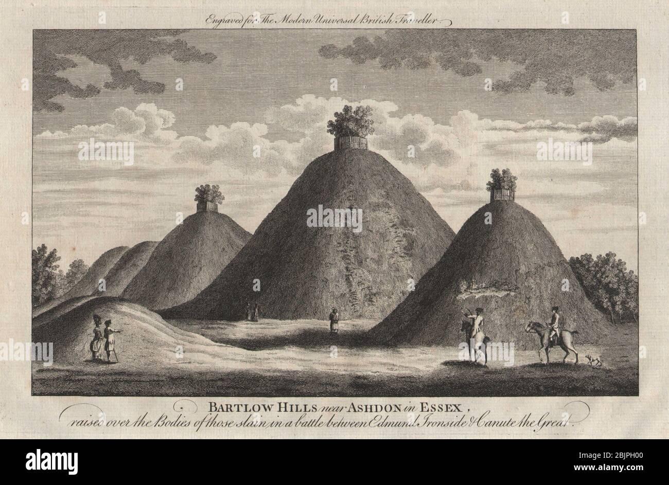 Bartlow Hills, Cambridgeshire. Roman Burial mounds. BURLINGTON 1779 old print Stock Photo