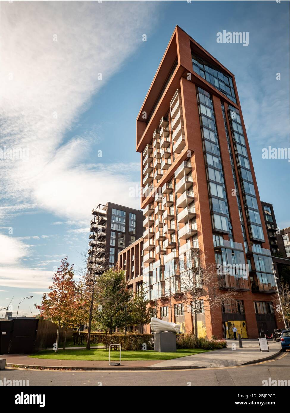 Contemporary apartments, Nine Elms, London. Wandsworth industrial area gentrification with the US Embassy and Battersea Power Station redevelopment. Stock Photo