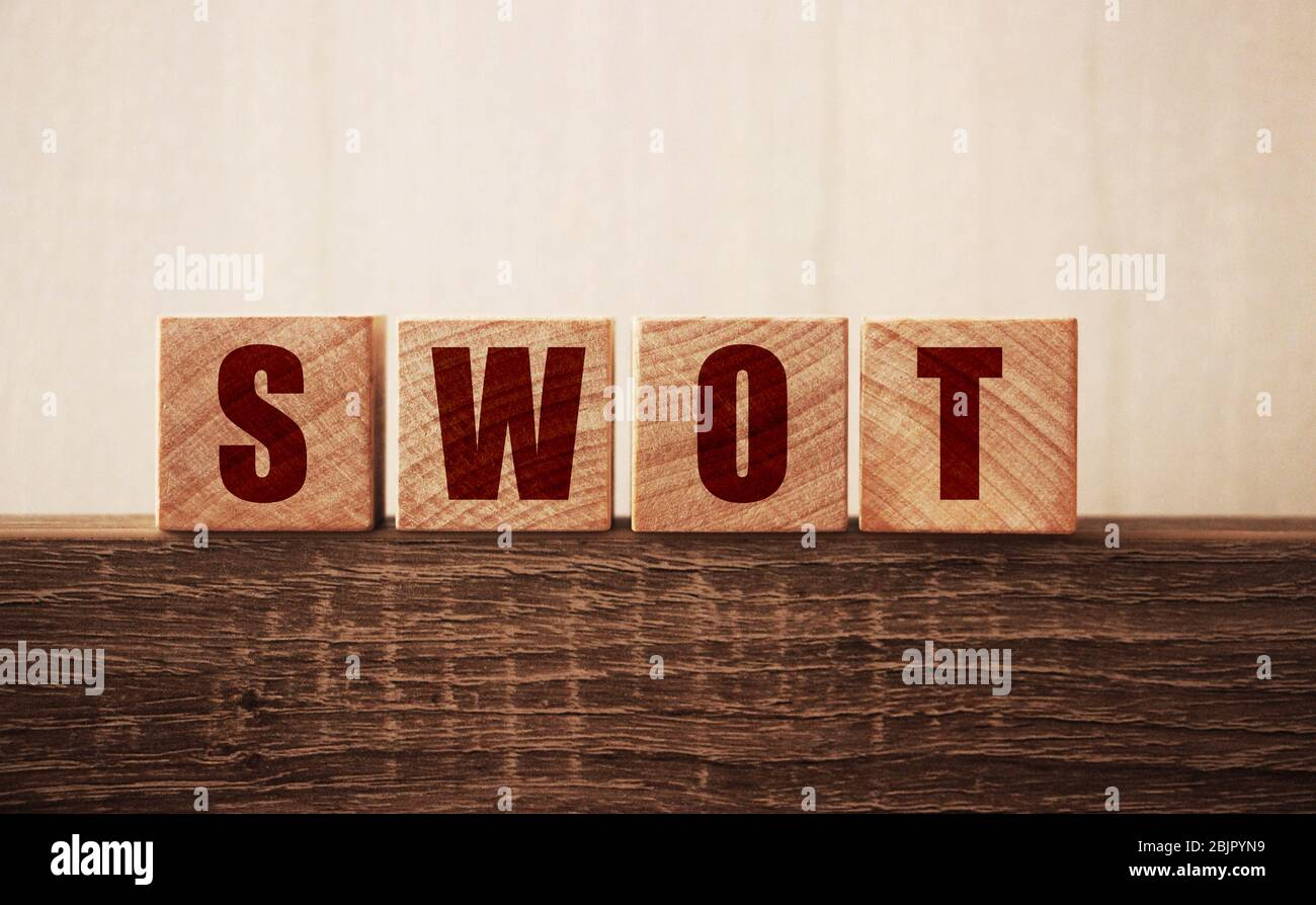 the word of SWOT on wooden cubes. Strengths weaknesses, opportunities, treats analysis bysiness concept Stock Photo