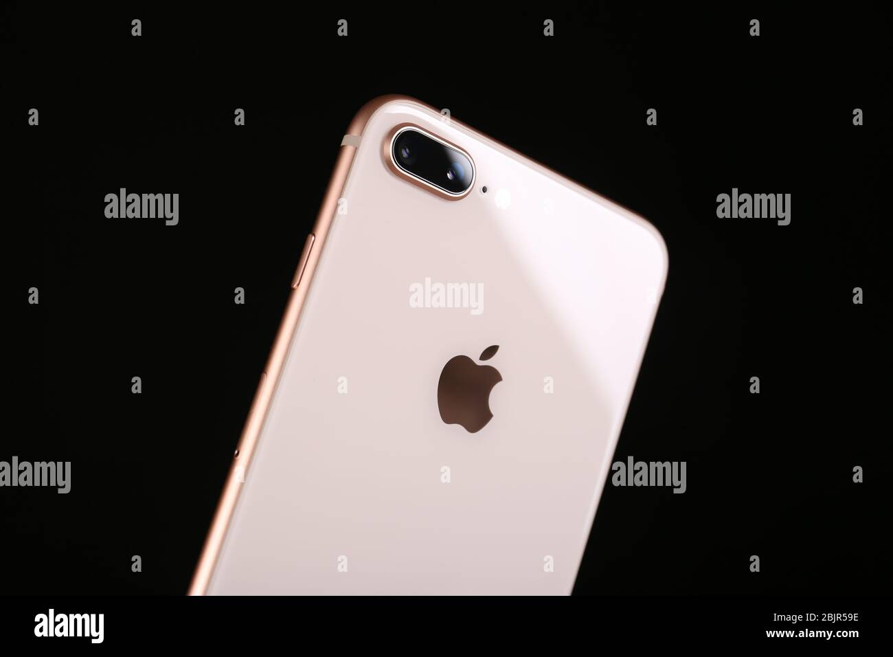 Kiev Ukraine October 23 2017 Back Panel Of Iphone 8 Plus Gold On Black Background Stock Photo Alamy