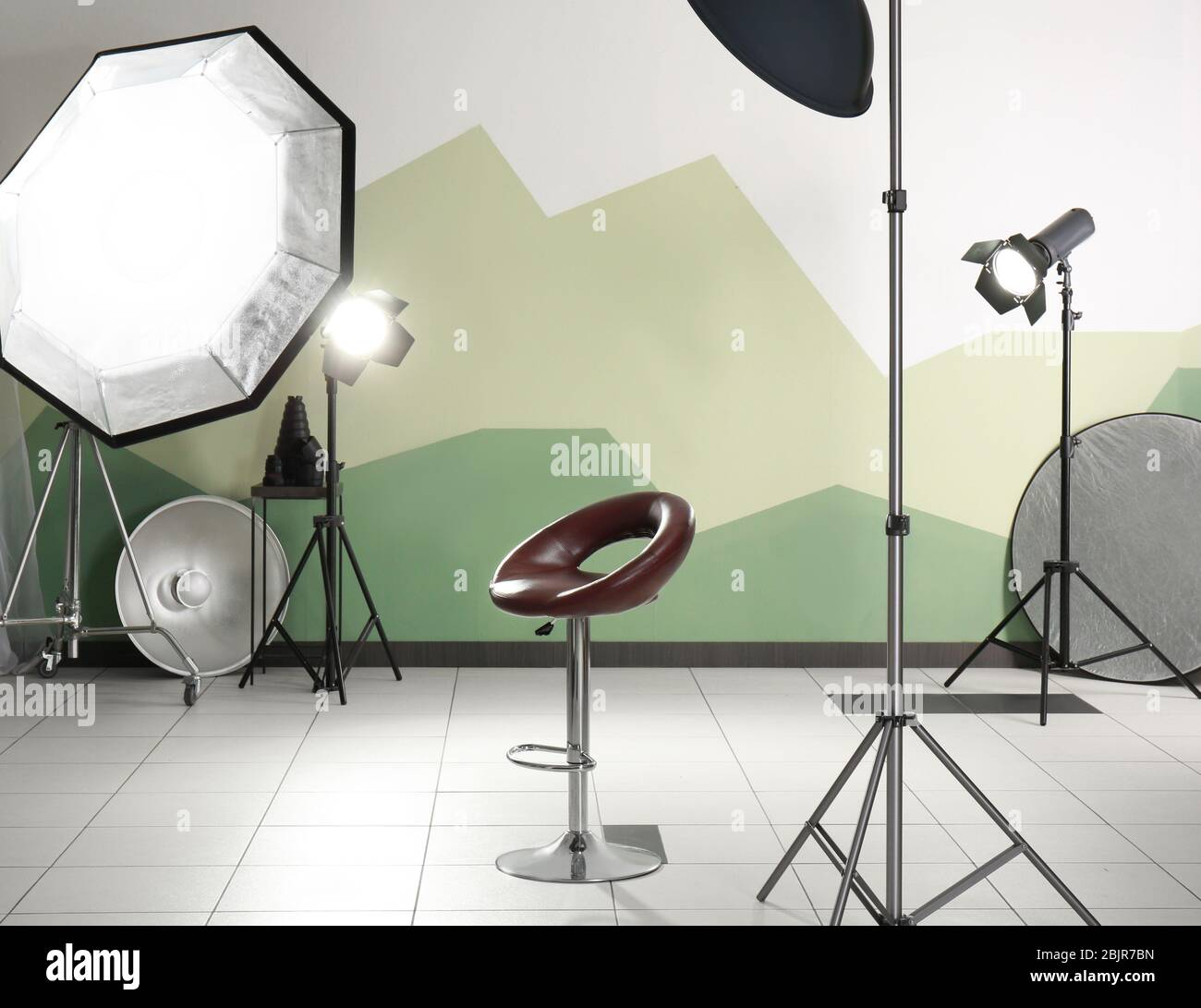 Interior Of Modern Photo Studio With Chair And Professional Equipment Stock Photo Alamy
