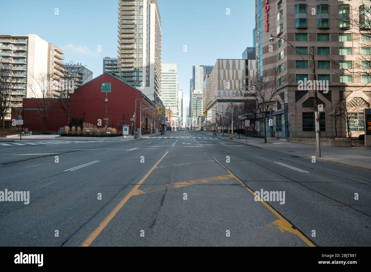 Downtown Toronto during COVID-19 pandemic - empty city streets Stock Photo