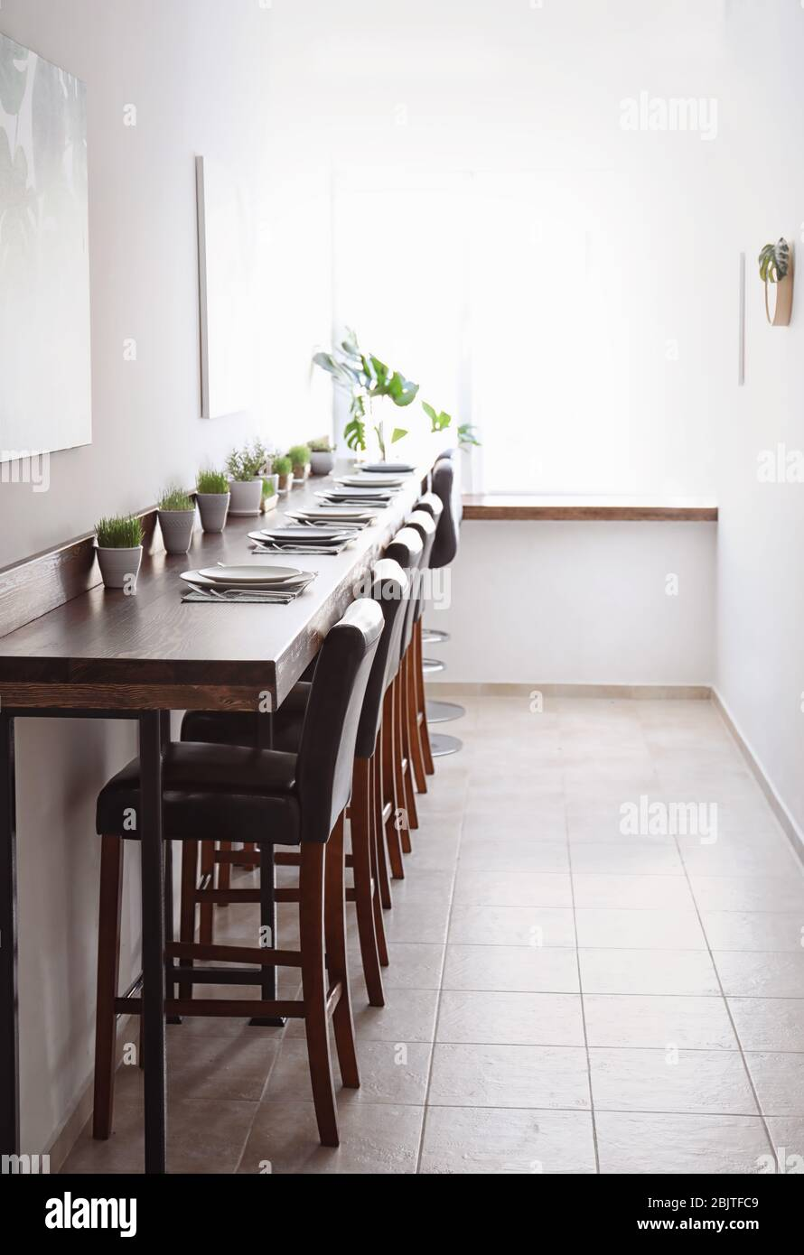 Table setting in vegetarian cafe Stock Photo