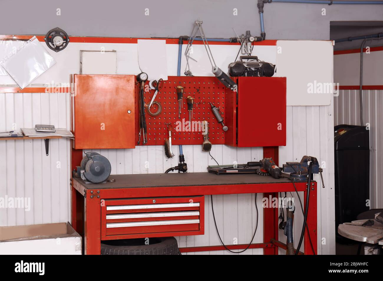 Modern Workbench With Different Tools In Car Service Center Stock Photo Alamy