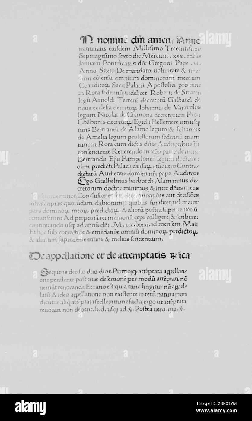 Horborch, Wilhelm – Decisiones Rotae Romanae, 1470 – BEIC 11787854. Stock Photo