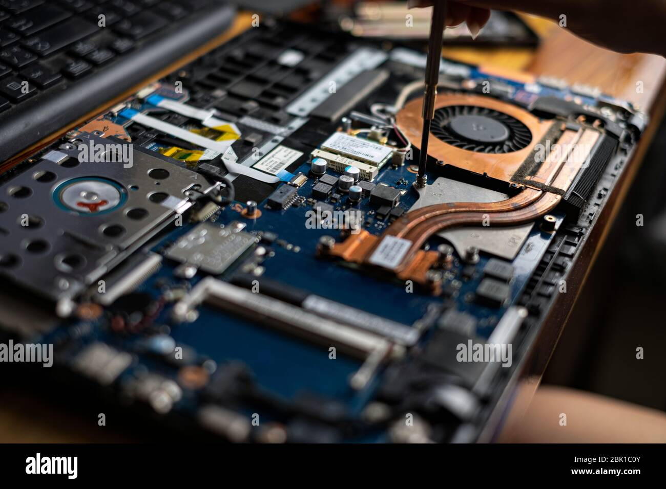 Hand technician repairing broken laptop notebook computer with a screwdriver Stock Photo