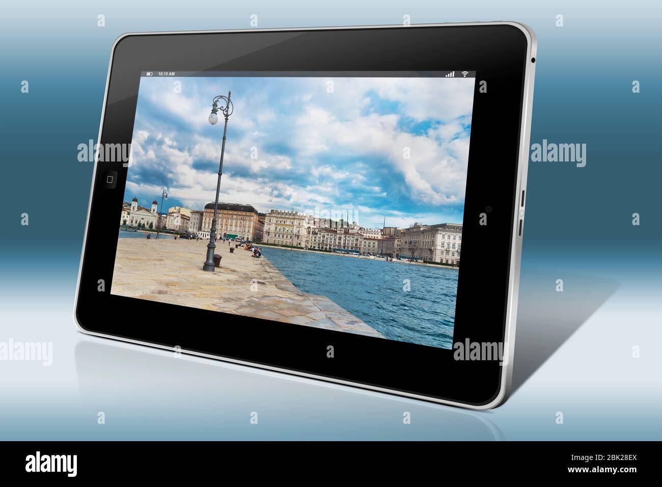 City view from Molo Audace to Trieste, Friuli-Venezia Giulia, Italy, Europe Stock Photo