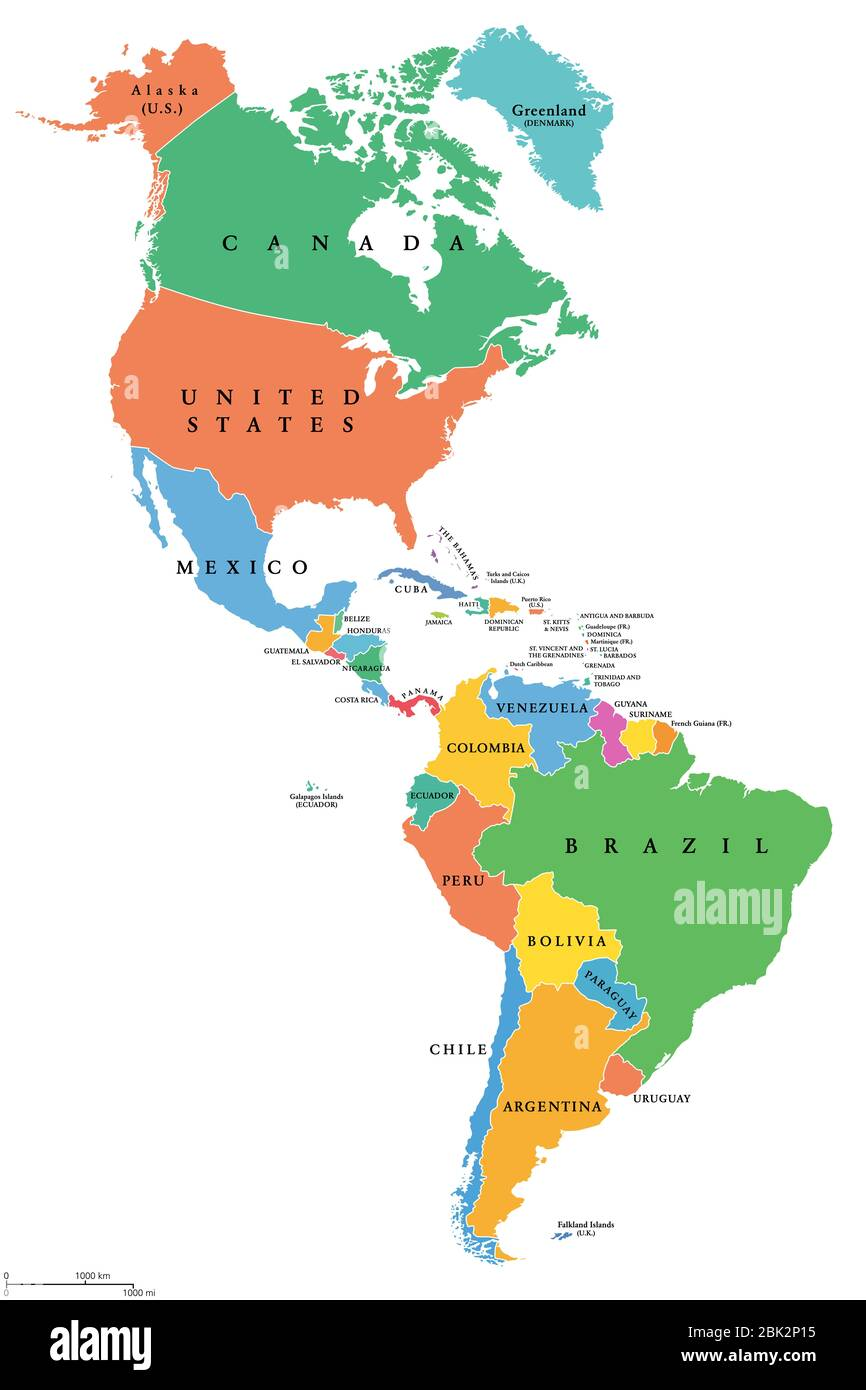 Picture of: The Americas Single States Political Map With National Borders Caribbean North Central And South America Different Colored Countries Stock Photo Alamy