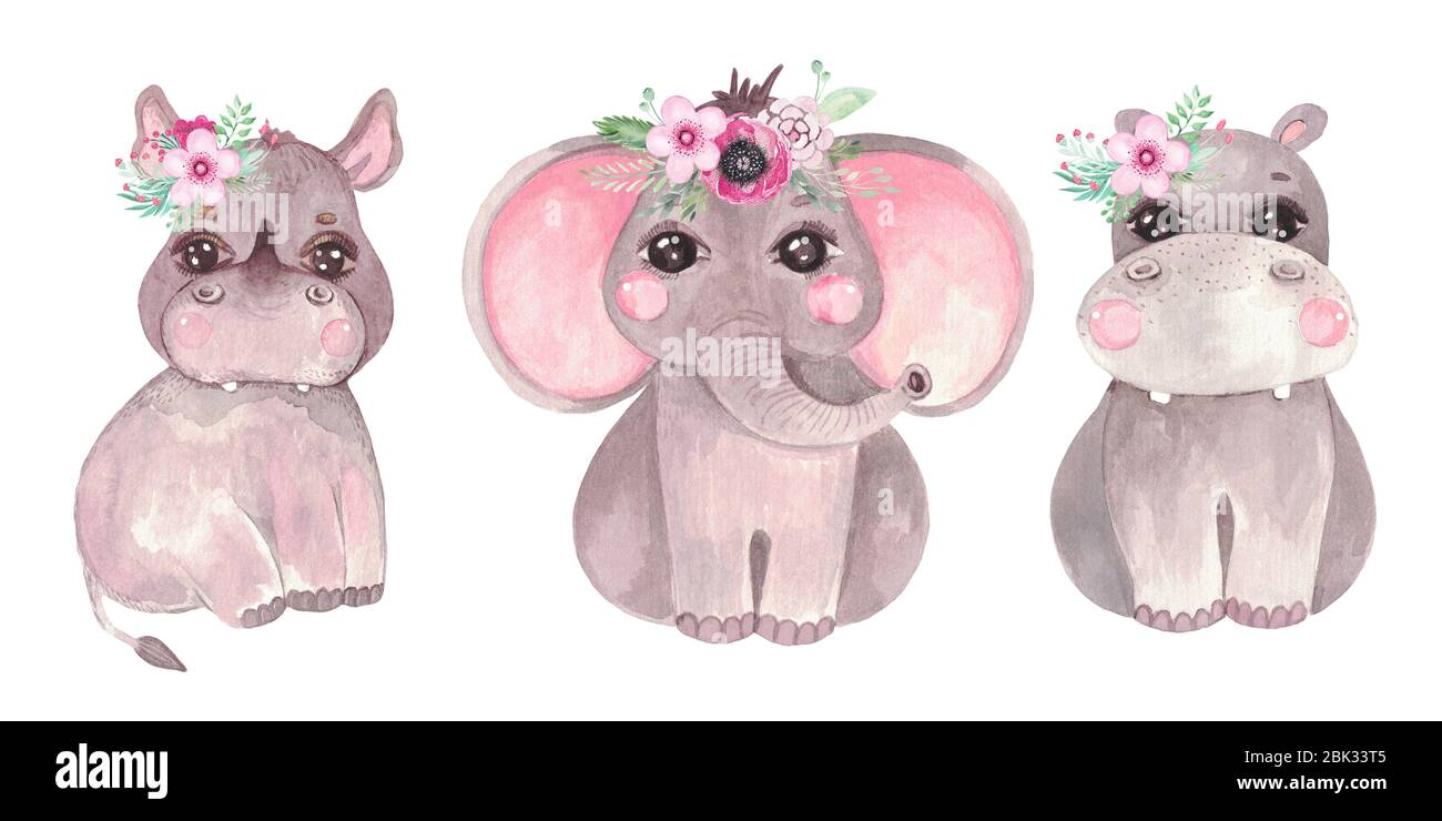 jungle Animals Nursery Decor elephant clipart watercolor jungle elephant nursery art Kids Clipart mother baby clipart cute elephants