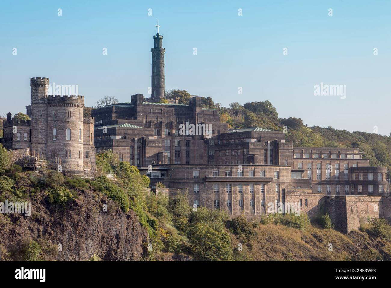 View of the Nelson Monument on Calton Hill in Edinburgh, viewed from near Waverley Station, which houses a small museum and is a great viewpoint Stock Photo