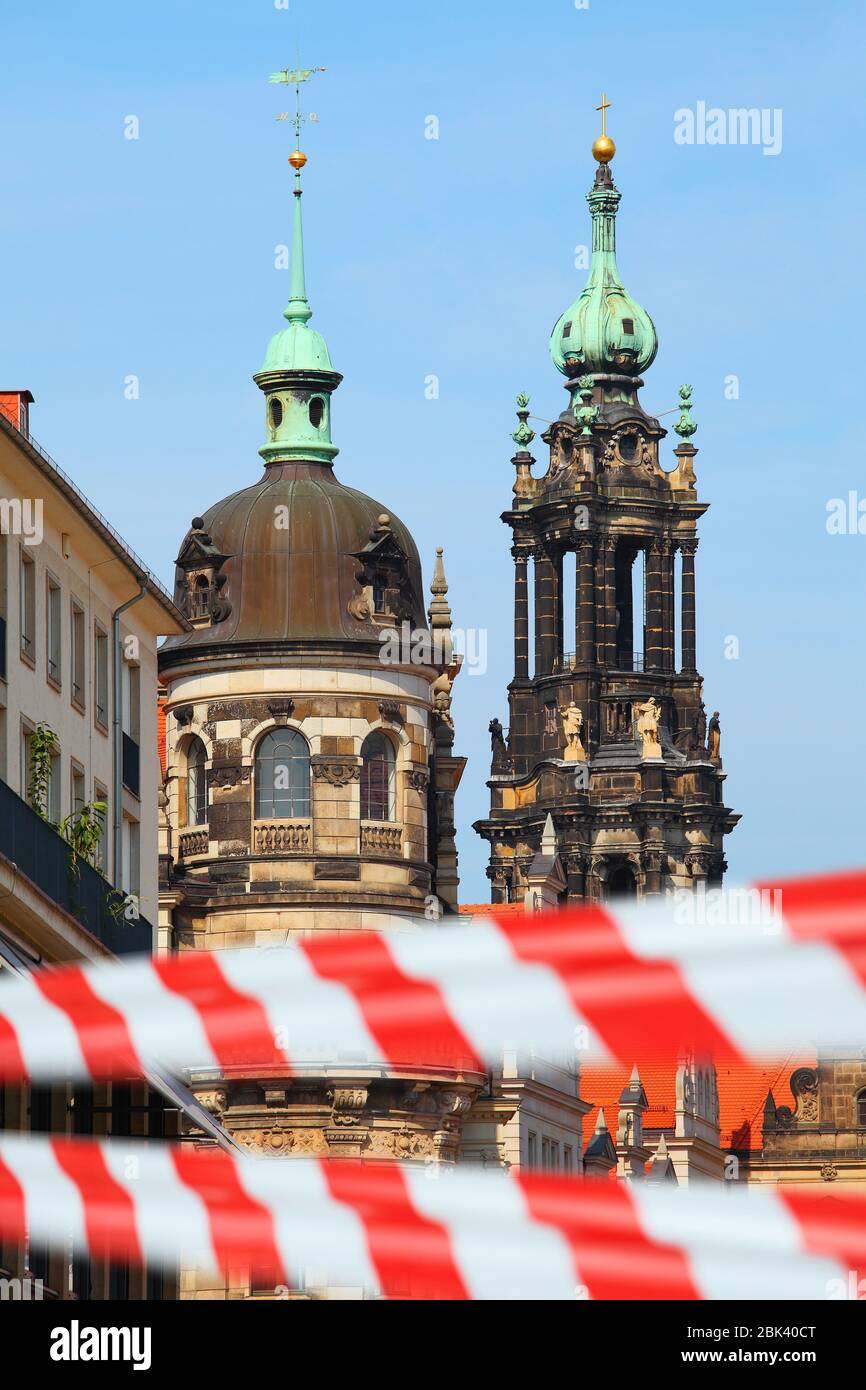 Dresden, Germany. Closed city center with warning tape. Empty historical european sightseeing Stock Photo