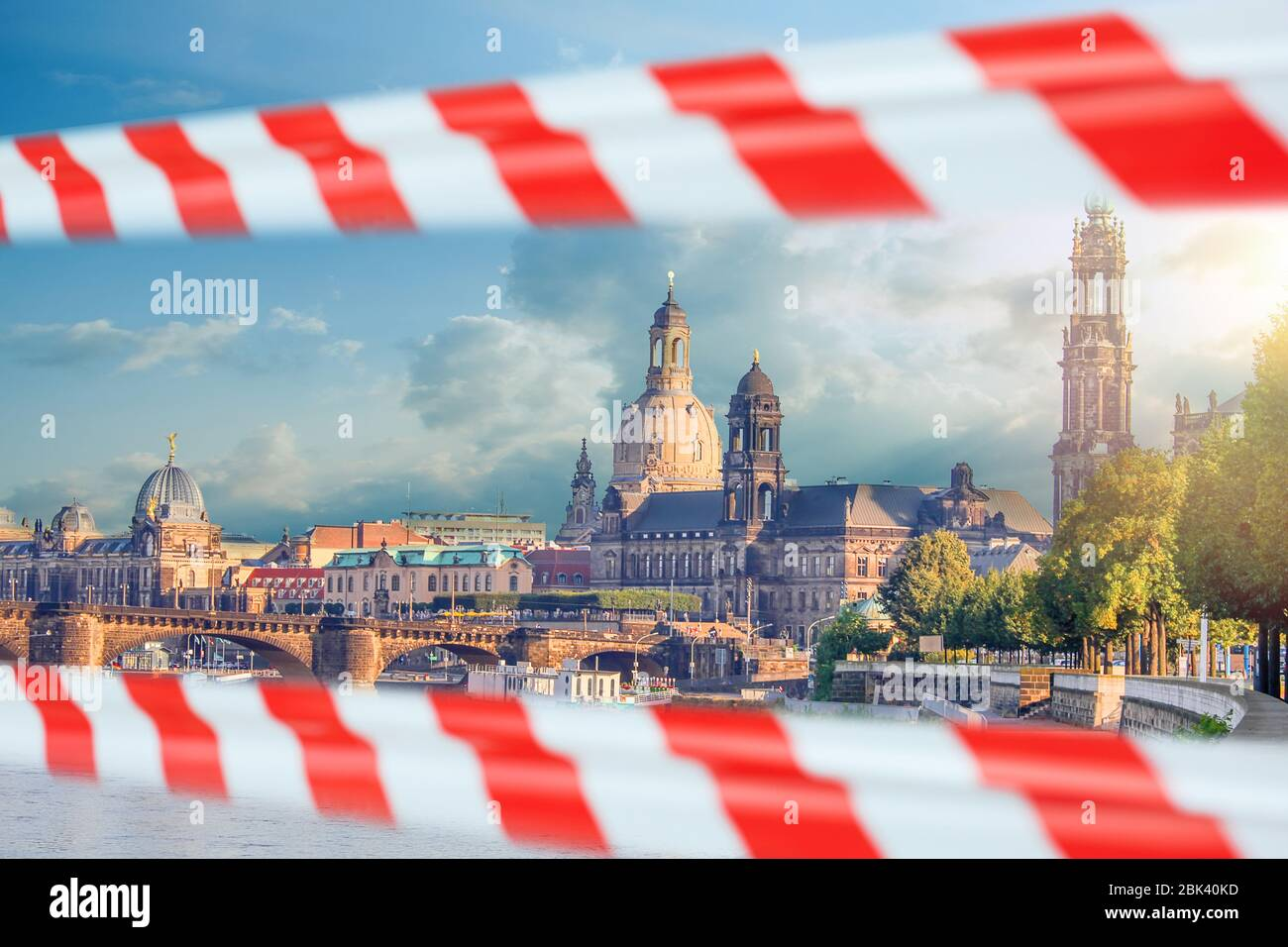 Empty Dresden, Saxony, Germany with warning tape. Closed historical european sightseeing Stock Photo