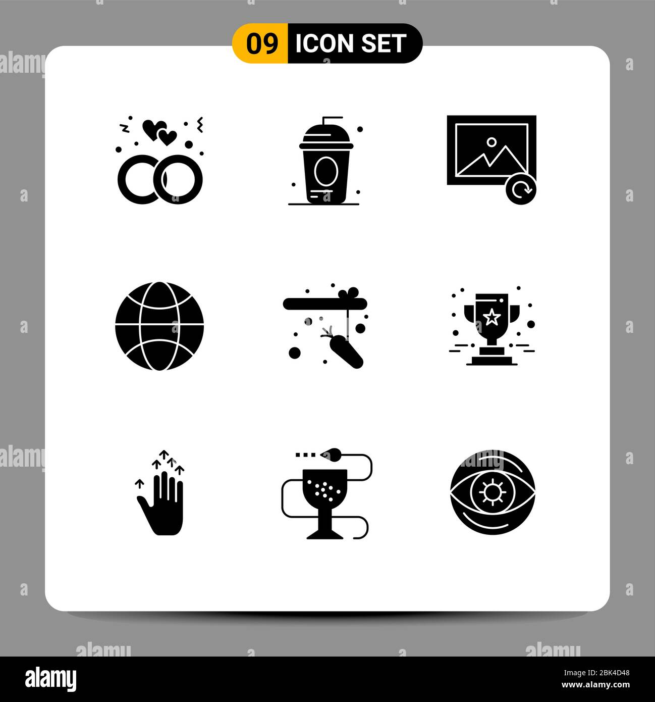 9 Universal Solid Glyphs Set for Web and Mobile Applications rod, fishing, independece, science, globe Editable Vector Design Elements Stock Vector