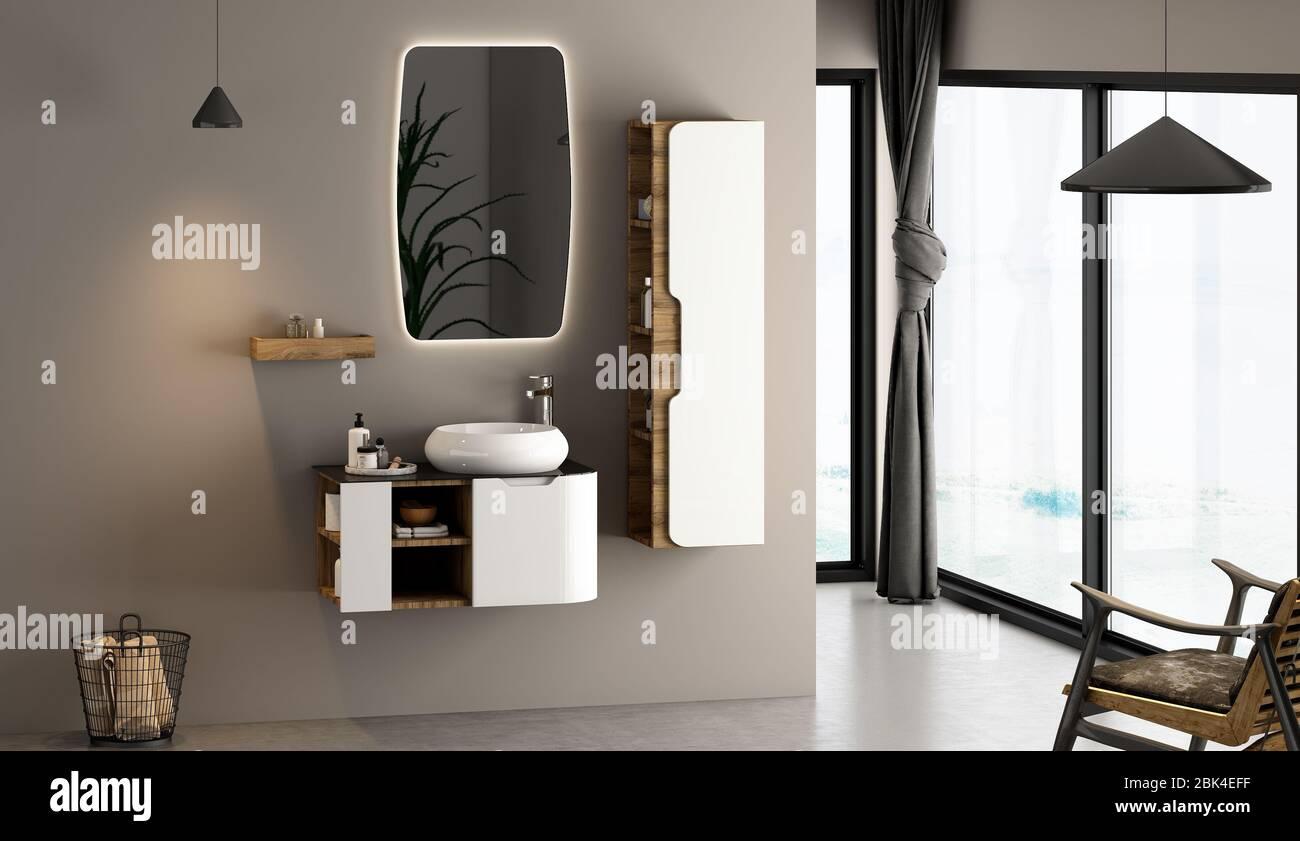 Modern bathroom and bathroom furniture set with bathroom