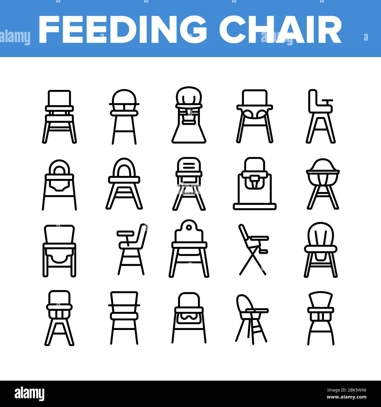 Feeding Baby Chair Collection Icons Set Vector Childhood Dinner