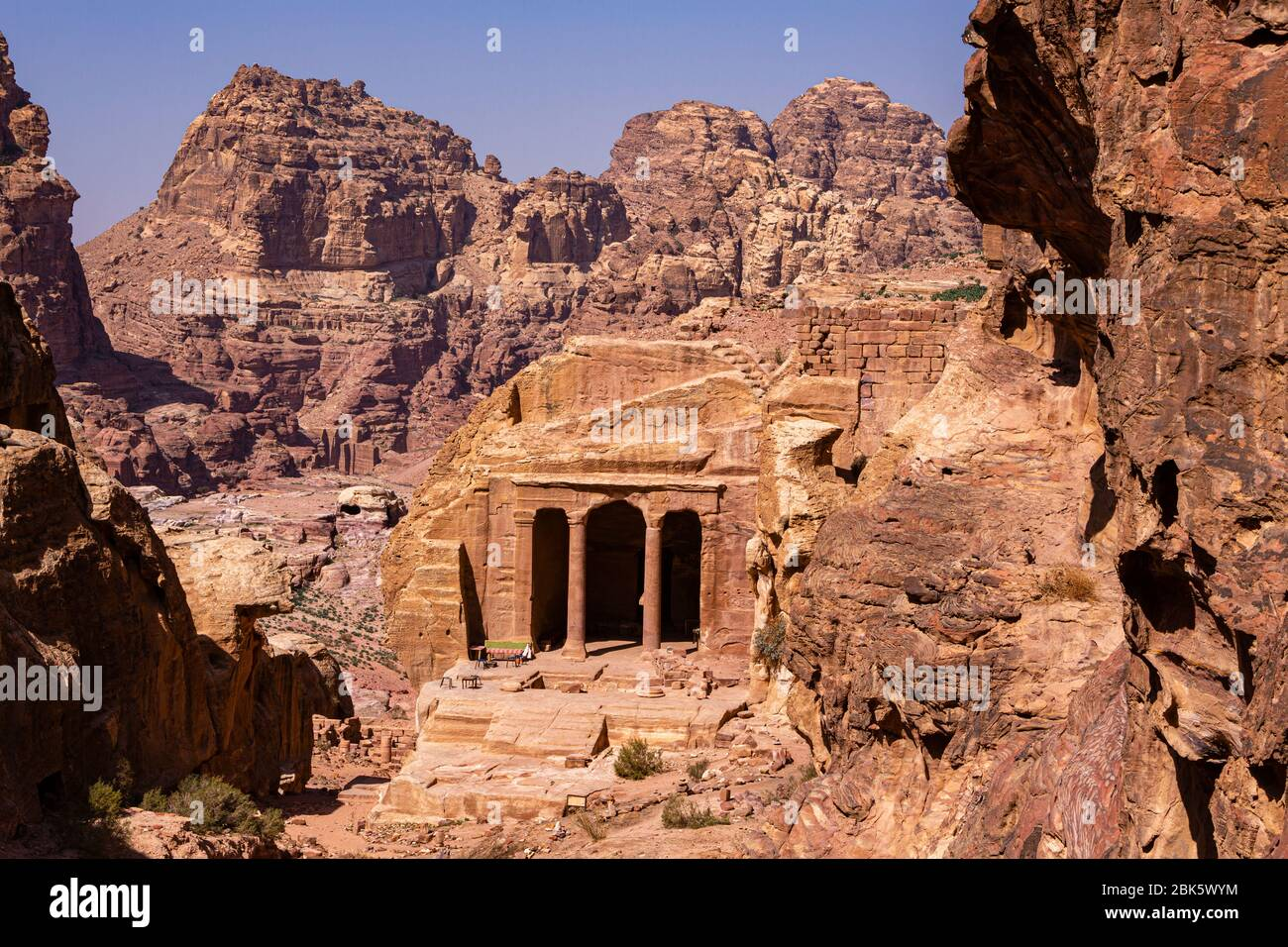Garden Triclinium on Wadi Farasa trail at the City of Petra, Jordan Stock Photo