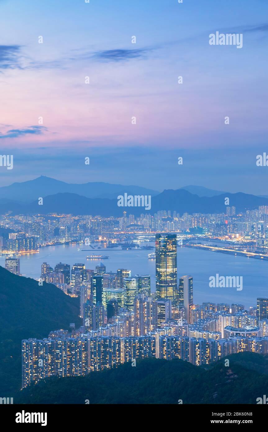 View of Quarry Bay and Kowloon at sunset, Hong Kong Stock Photo