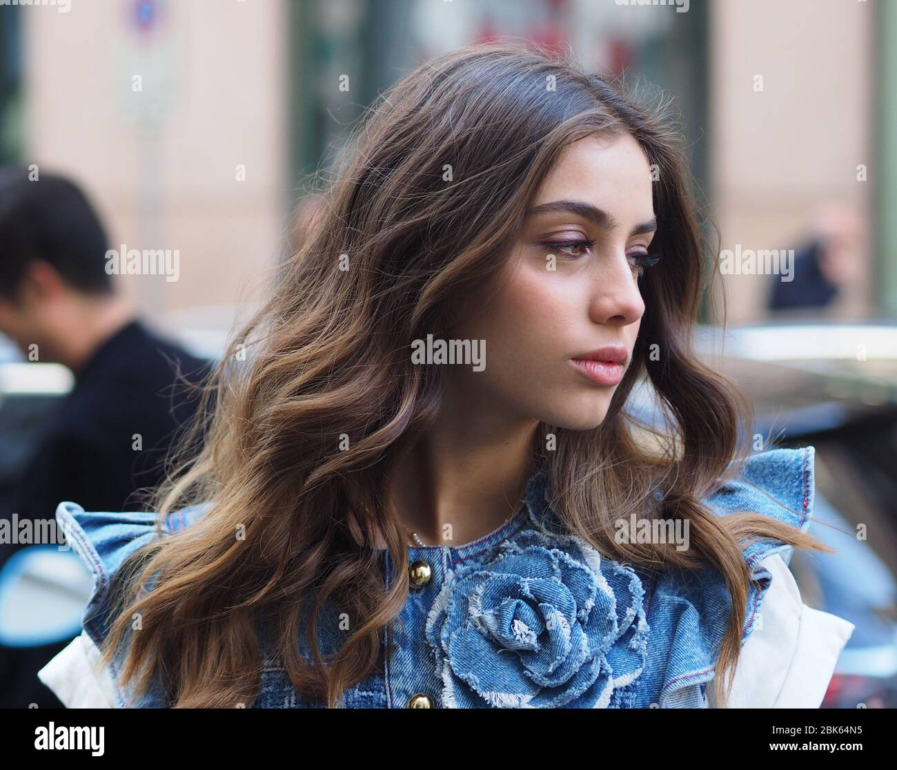 Milan Italy 22 February 2020 Young Celebrity Actress Elisa Visari Posing For Photographers In The Street Before Film Conference Stock Photo Alamy