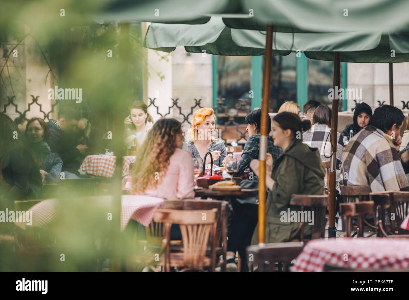 Lviv Ukraine May 11 2019 View Of People Resting At Outdoors Cafe Stock Photo Alamy