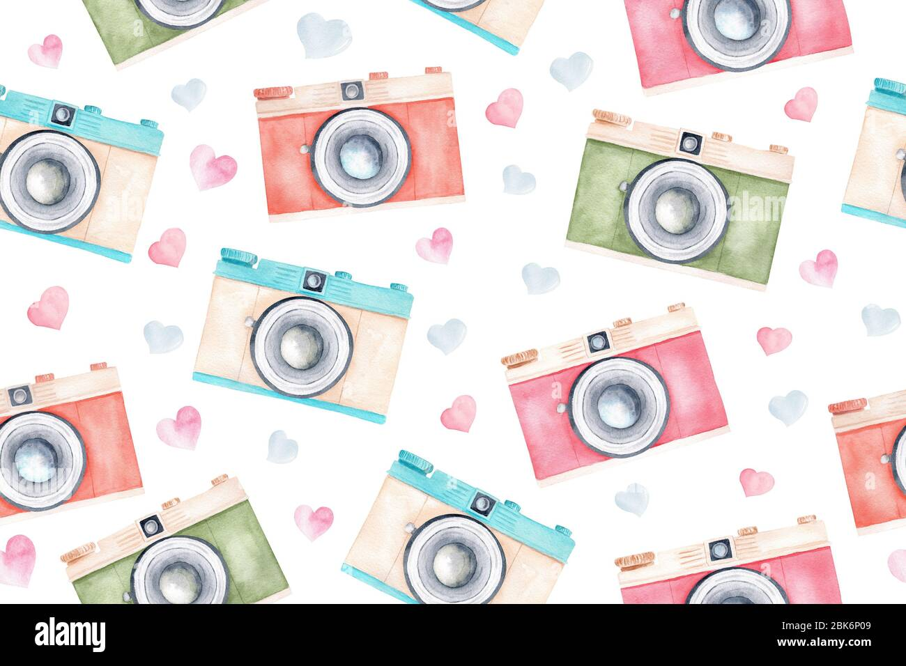 Hand Painted Pastel Color Vintage Retro Cameras And Hearts Watercolor Clipart Seamless Pattern Digital Paper Isolated On White Background Stock Photo Alamy