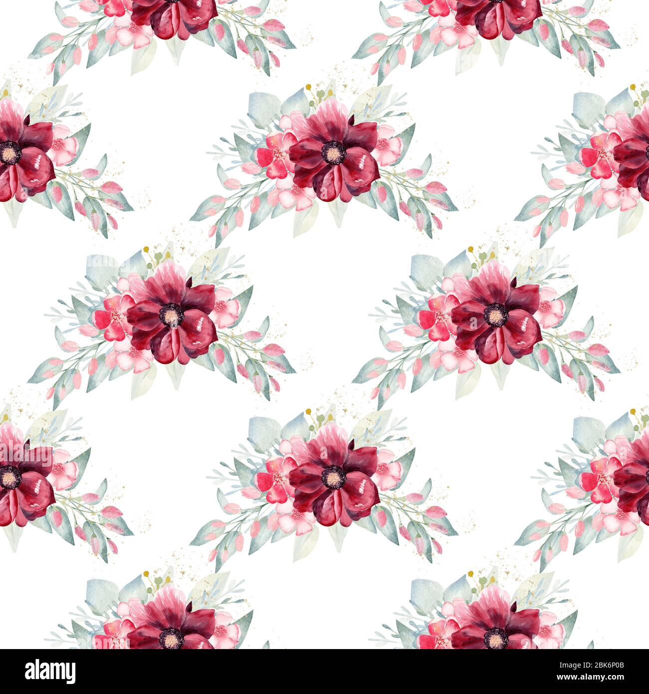 Floral Bouquet Seamless Pattern Watercolor Clipart Burgundy Flowers And Greenery Illustration Handmade Art For Background Wallpaper Invitation We Stock Photo Alamy
