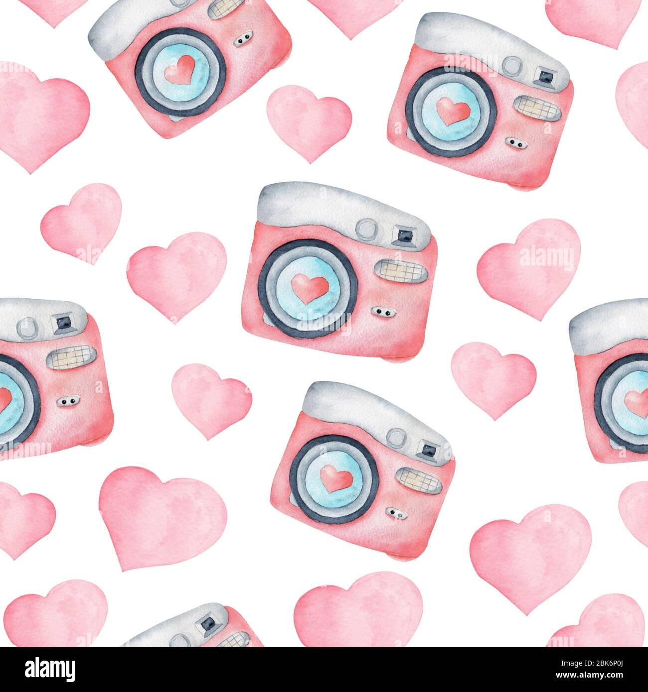 Pink Watercolor Vintage Cameras And Hearts Seamless Pattern Pastel Color Clipart Hand Painted Digital Paper Contemporary Graphic Design Stock Photo 356034802 Alamy