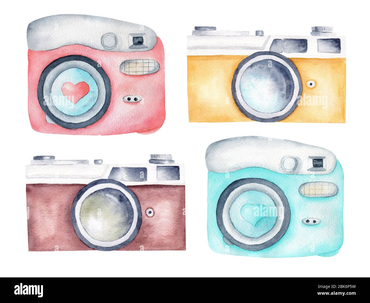 Vintage Retro Cameras Watercolor Clipart Illustration For Photography Logo Card Design Hand Painted Artwork Isolated On White Background Stock Photo Alamy