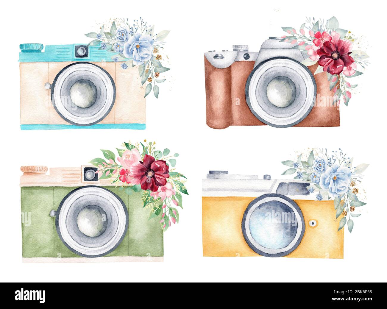 Watercolor Vintage Photo Cameras And Floral Arrangements Illustration Clipart Set Insolated On White Background Photography Logo Design Cards Sti Stock Photo Alamy