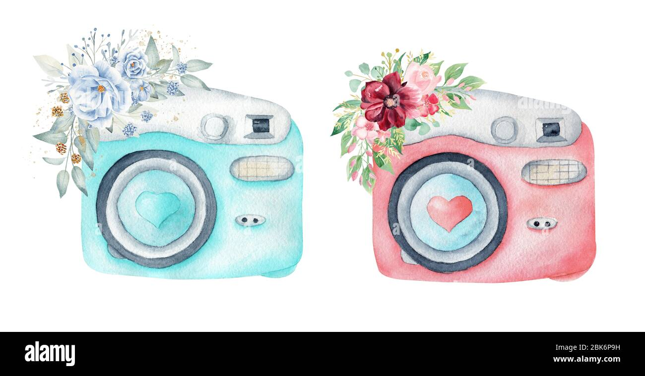 Watercolor Photo Cameras And Floral Arrangements Hand Drawn Pastel Color Clipart Illustration Isolated On White Background Stock Photo Alamy