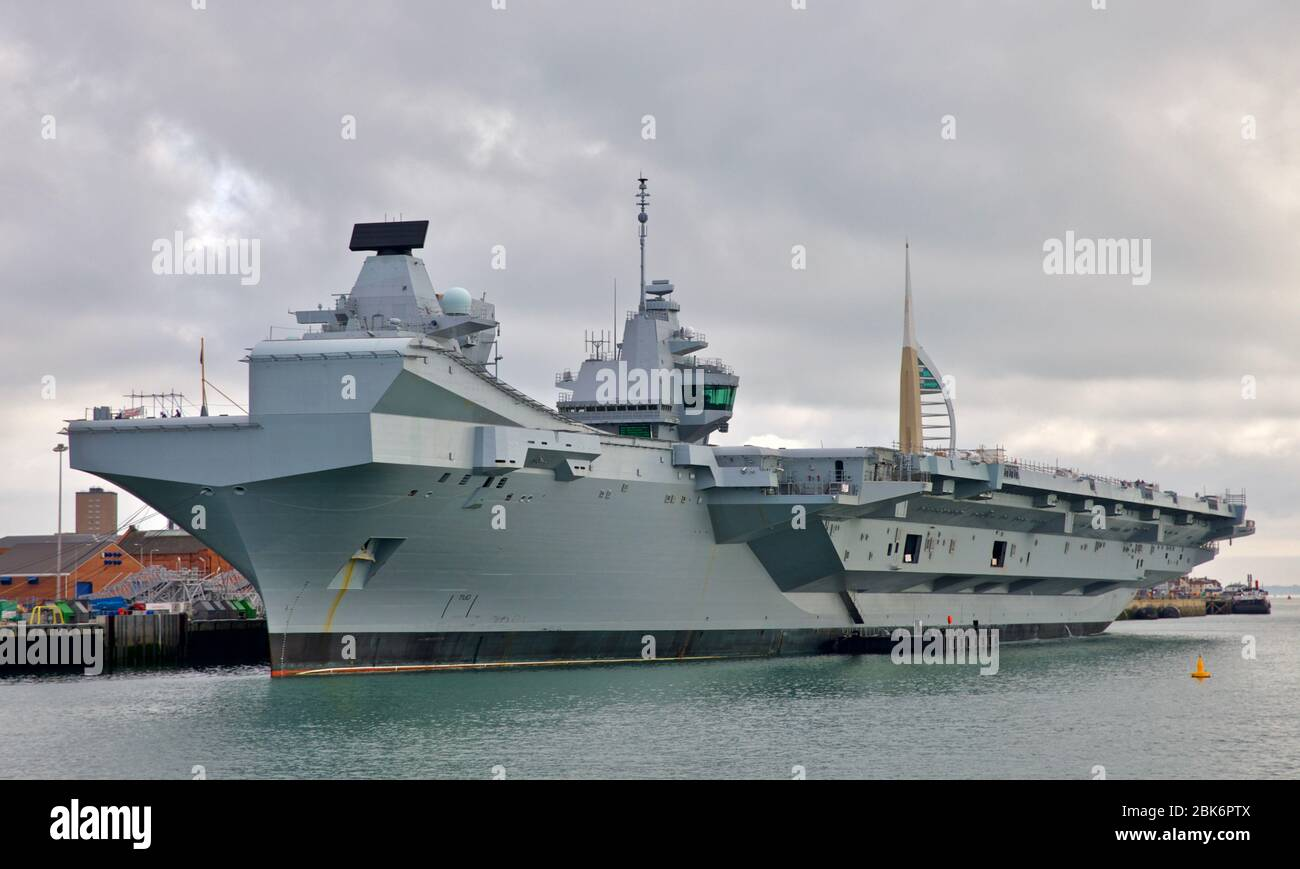 HMS Queen Elizabeth  - Aircraft Carrier the most advanced warship in the Royal Navy Fleet at Portsmouth Navel Base Stock Photo