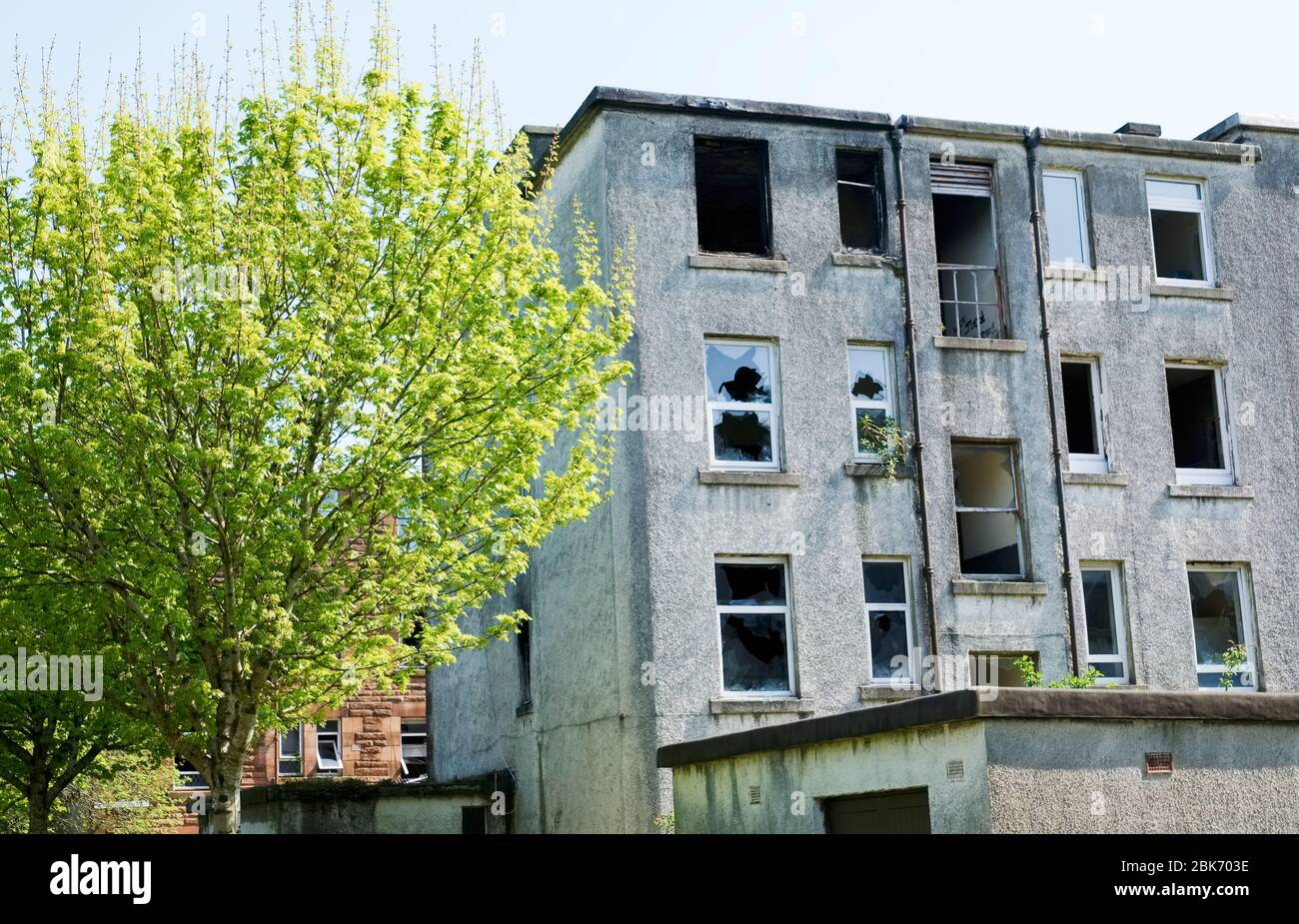 Derelict abandoned council house in poor housing crisis ghetto estate slum in North England Stock Photo