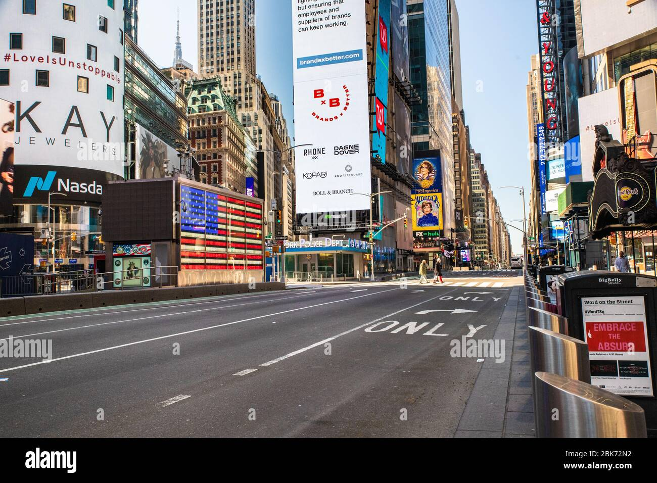 NEW YORK CITY - APRIL 19, 2020:  View of empty street in Times Square, NYC in Manhattan during the Covid-19 Coronavirus pandemic lockdown. Stock Photo