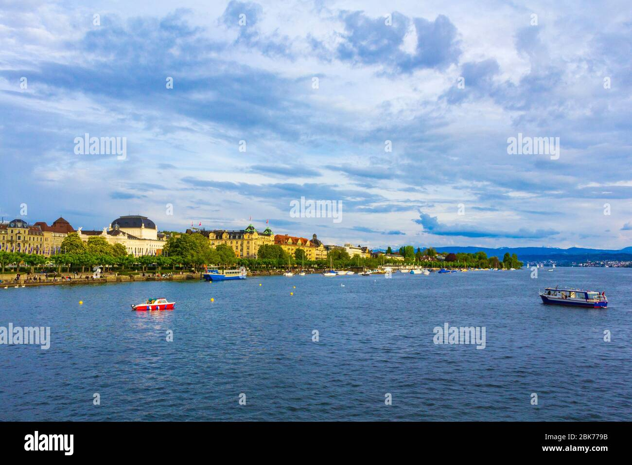 Scenic view of Lake Zürich or Zürichsee -a lake in Switzerland, extending southeast of the city of Zürich. Stock Photo