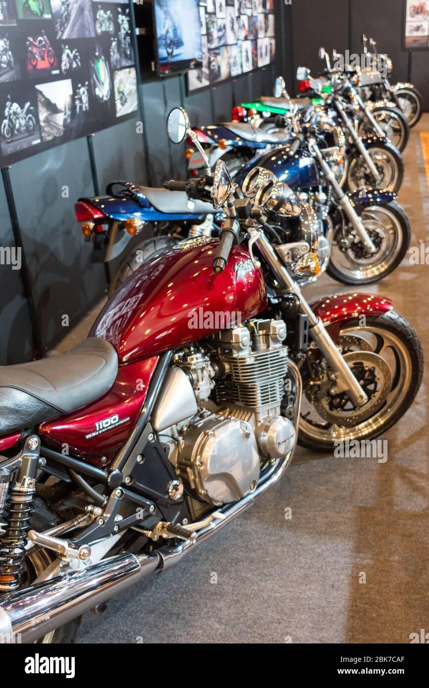 Kobe / Japan - February 17, 2018: Kawasaki motorcycles exhibited in the Kawasaki museum (Kawasaki Good Time World) in Kobe, Japan Stock Photo