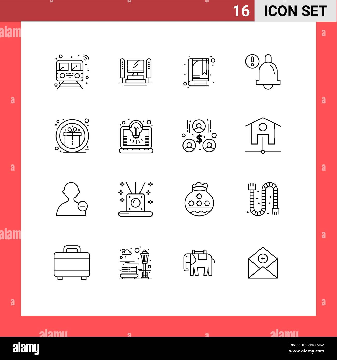 User Interface Pack of 16 Basic Outlines of prize, award, cpu, bell, alarm Editable Vector Design Elements Stock Vector