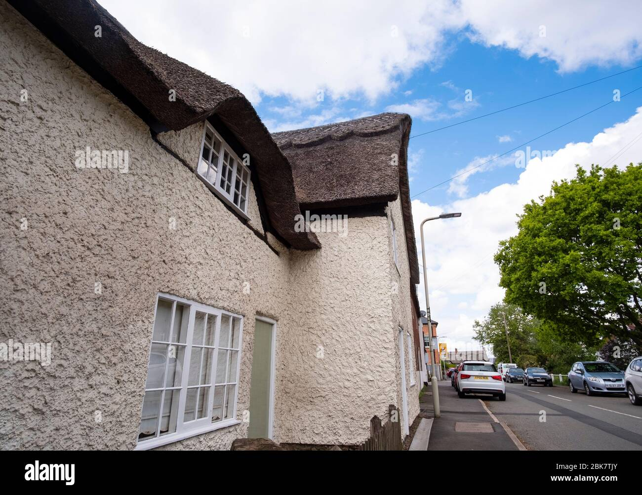 Example of thatched roof houses in the village of Hemington, Leicestershire, UK Stock Photo