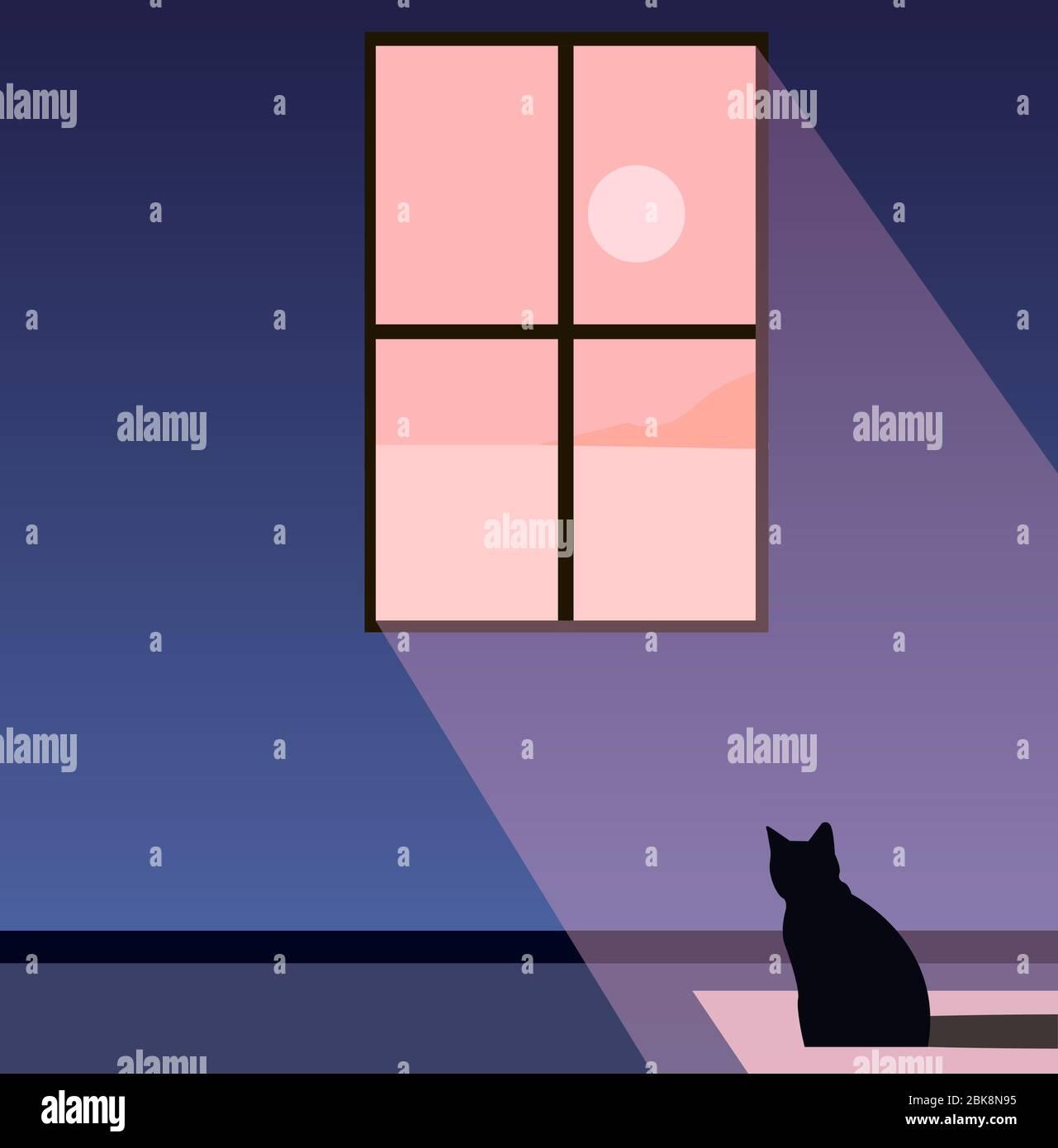 Creative concept vector illustration cat sitting on the floor near the window watching the sunlight sunshine. Stock Vector