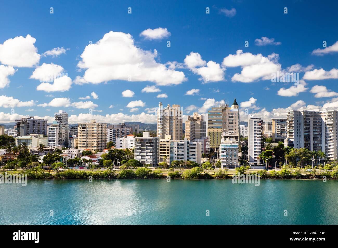 High-rise buildings from Condado Beach San Juan, Puerto Rico Stock Photo