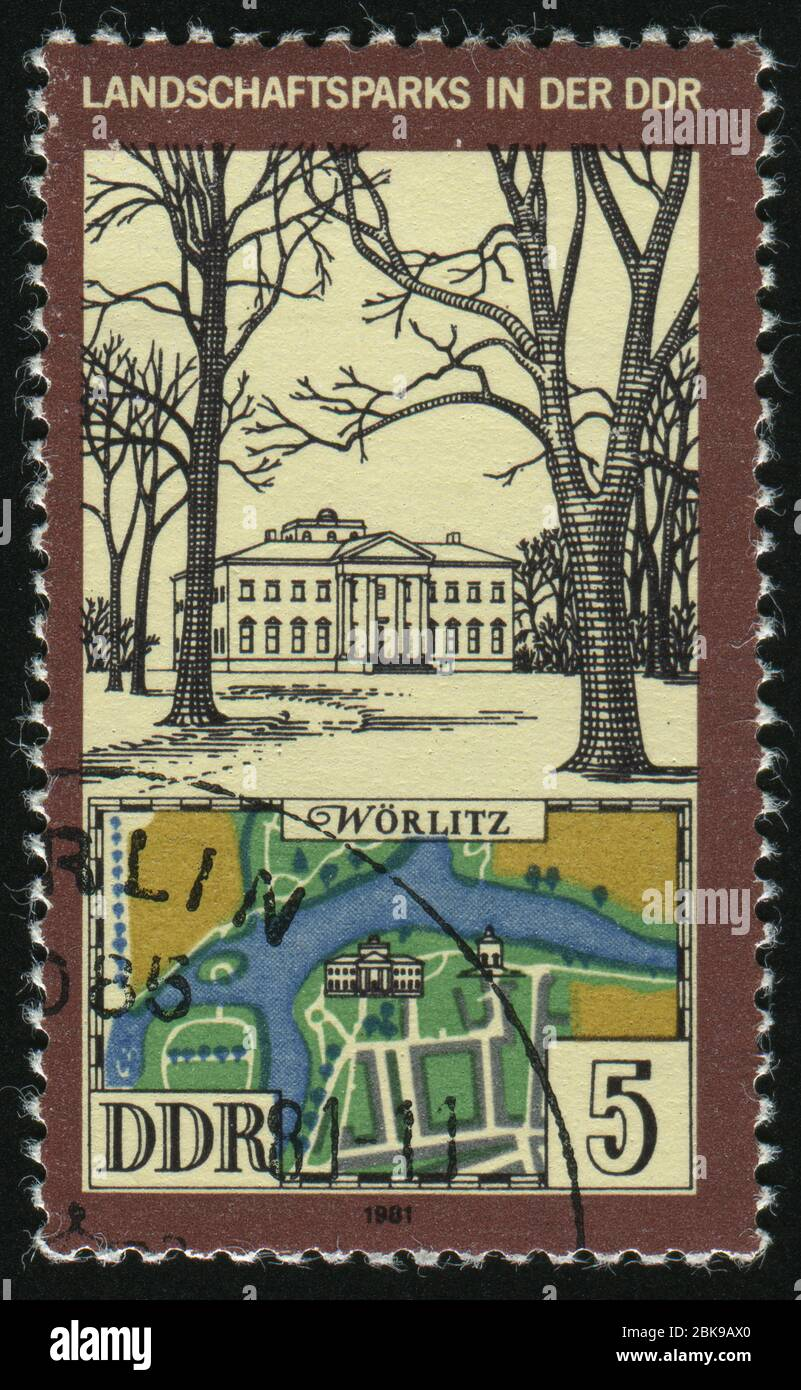 GERMANY- CIRCA 1981: stamp printed by Germany, shows View and Map of Worlitz Park, circa 1981. Stock Photo
