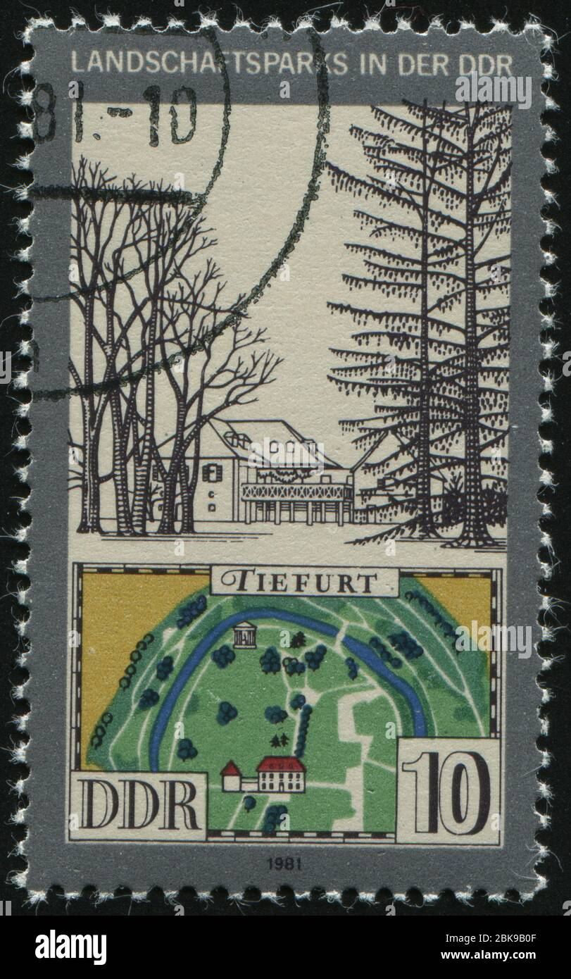 GERMANY- CIRCA 1981: stamp printed by Germany, shows View and Map of Tiefurt Park, circa 1981. Stock Photo