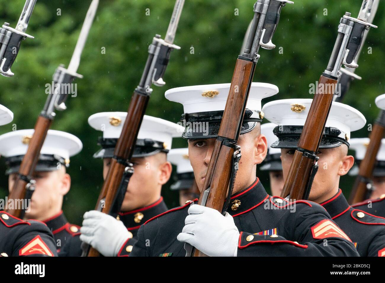 Members of the U.S. Marine Corps Silent Drill Platoon march in formation and perform at the Salute to America event Thursday, July 4, 2019, at the Lincoln Memorial in Washington, D.C. Salute to America Stock Photo