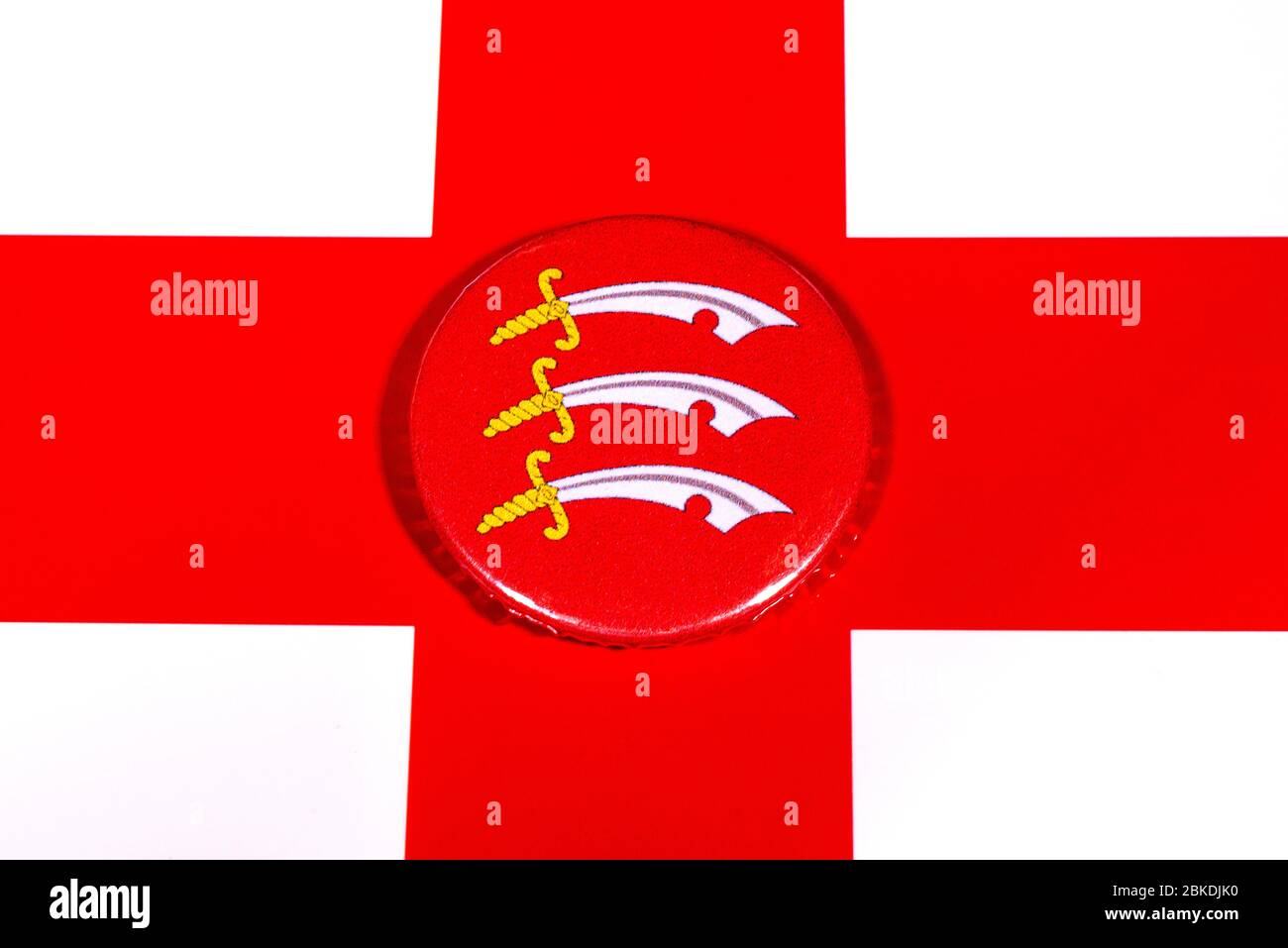A badge portraying the flag of the English county of Essex pictured over the England flag. Stock Photo