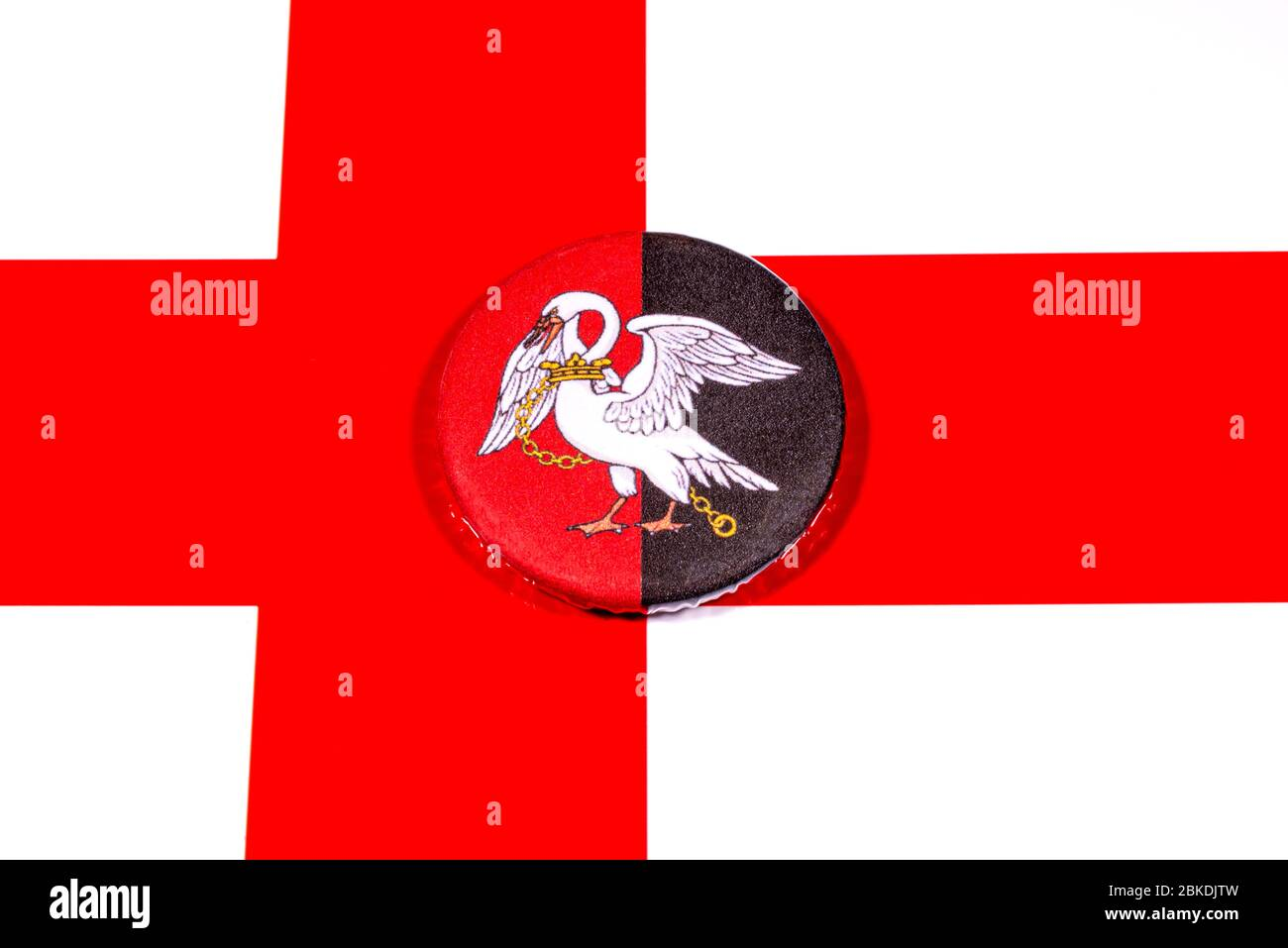 A badge portraying the flag of the English county of Buckinghamshire pictured over the England flag. Stock Photo
