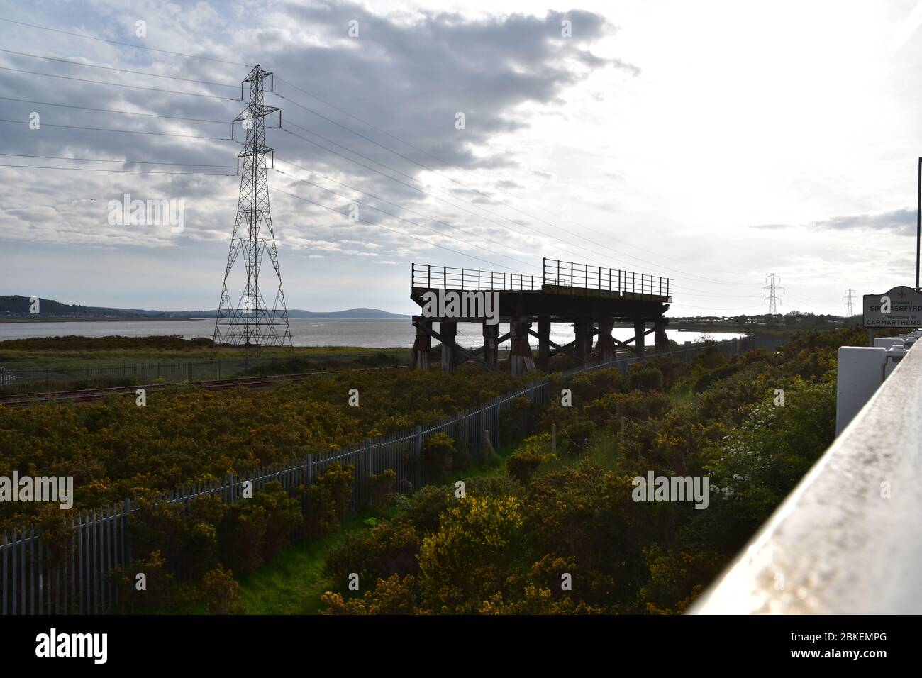 The remaining part of the Old Loughor Bridge in Llanelli, Wales. Photo taken on the 6th of May 2019 Stock Photo