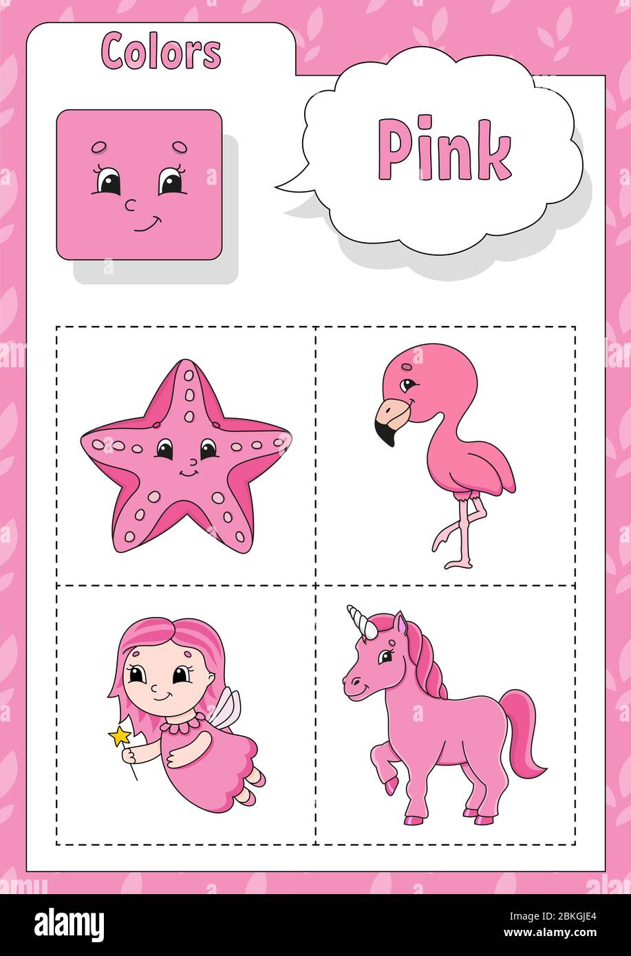 Learning Colors Pink Color Flashcard For Kids Cute Cartoon Characters Picture Set For Preschoolers Education Worksheet Vector Illustration Stock Vector Image Art Alamy