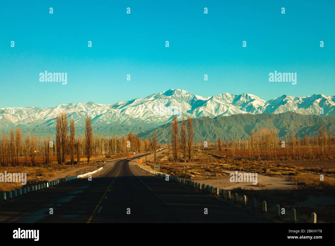View of road with mountains Stock Photo