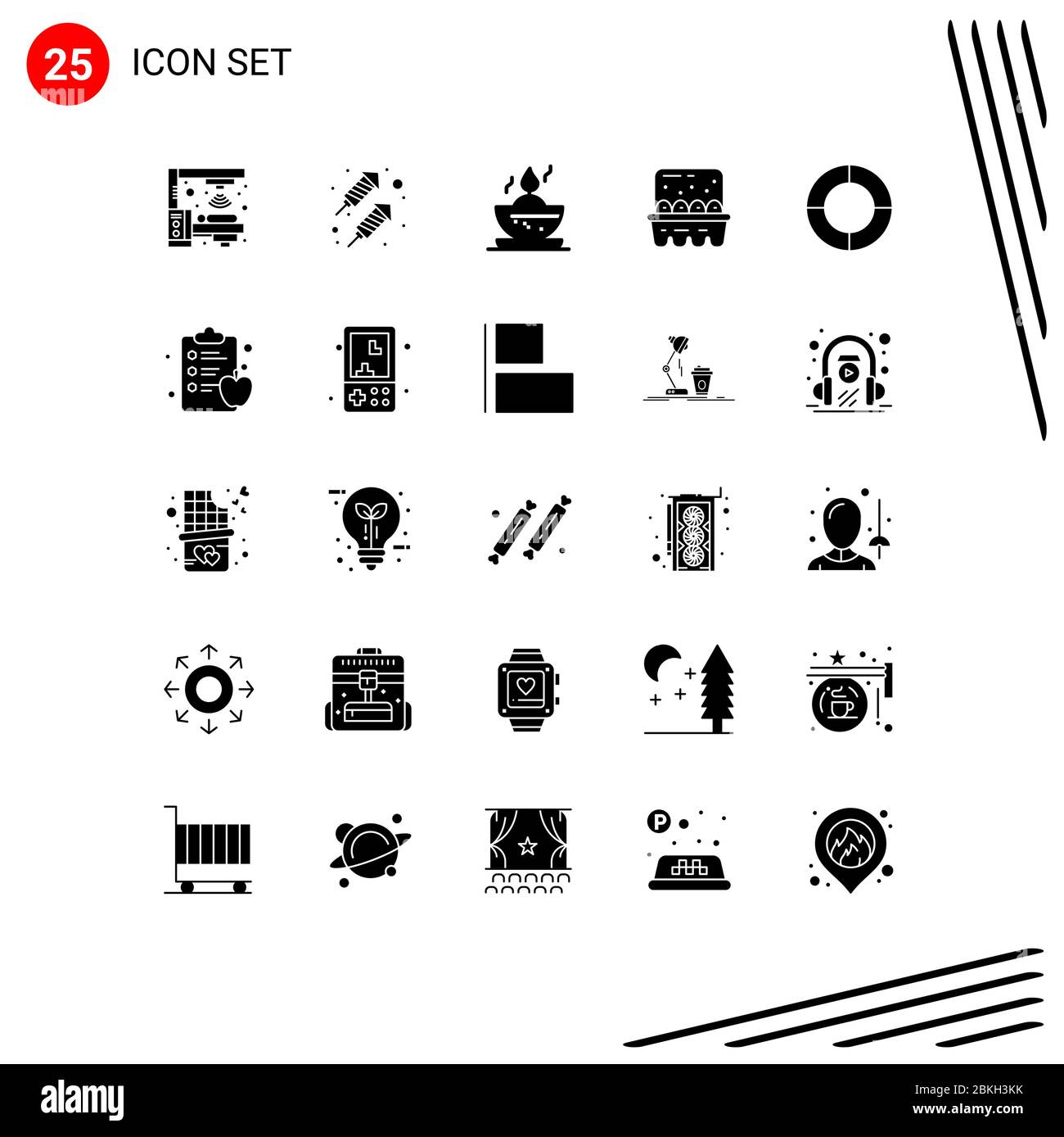 25 Universal Solid Glyphs Set For Web And Mobile Applications Apple Diagram Candle Chart Eggs Editable Vector Design Elements Stock Vector Image Art Alamy
