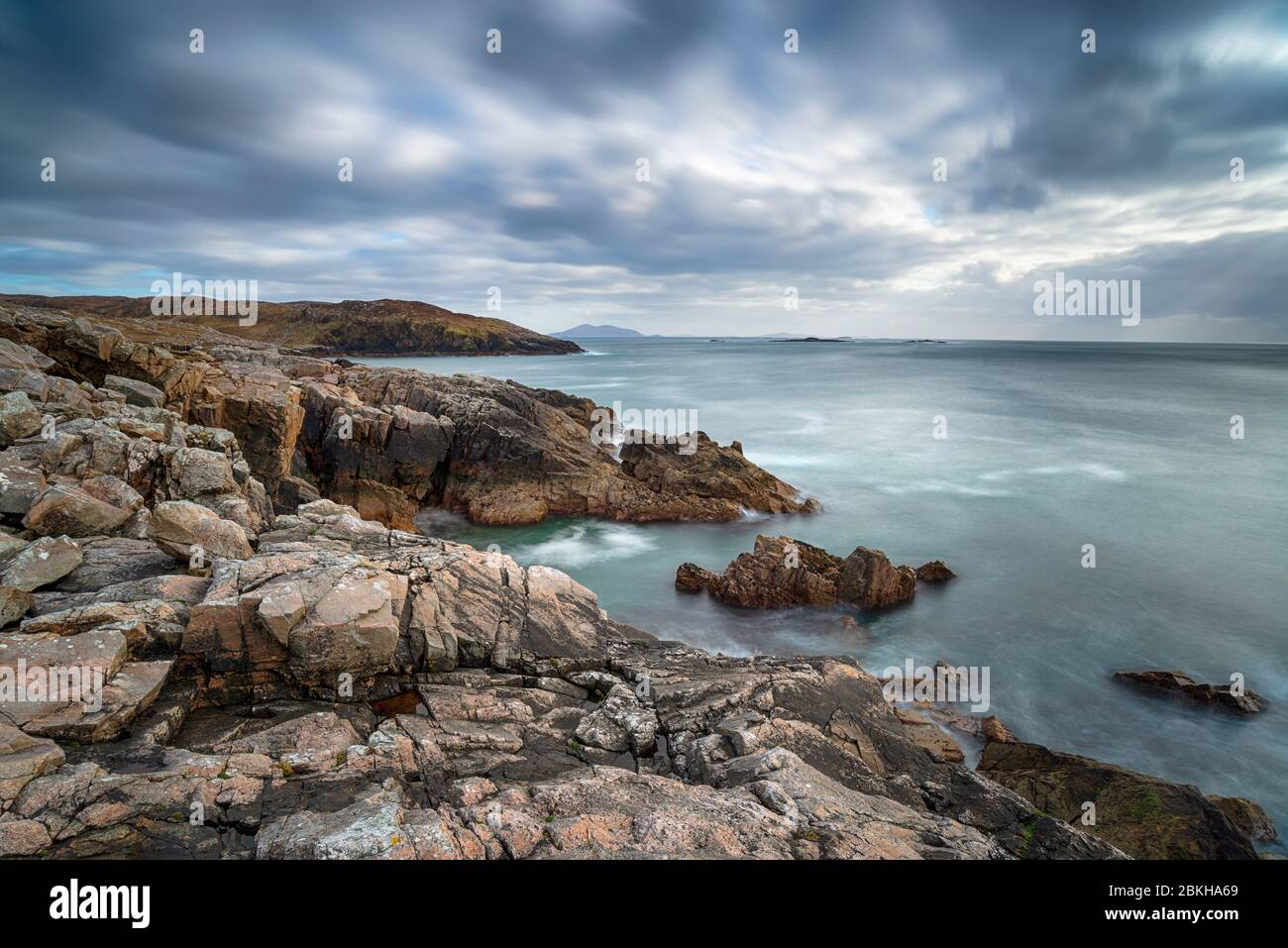 A long exposure of the rocky coastlone at Hushinish on the Isle of Harris in the Wetern isles of Scotland Stock Photo