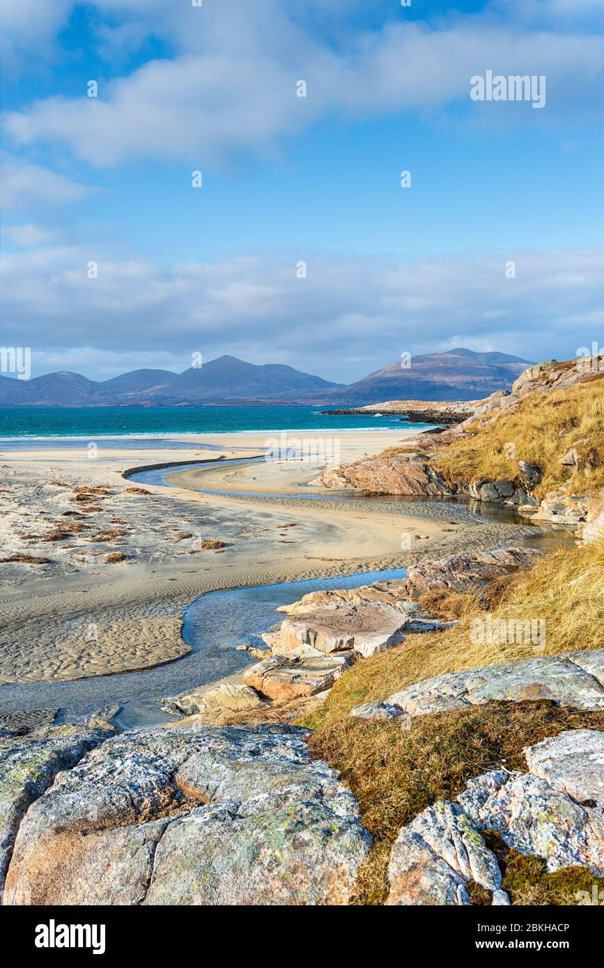 Low tide on the beach at Traigh Rosamol at Luskentyre on the Isle of Harris in the Western Isles of Scotland Stock Photo