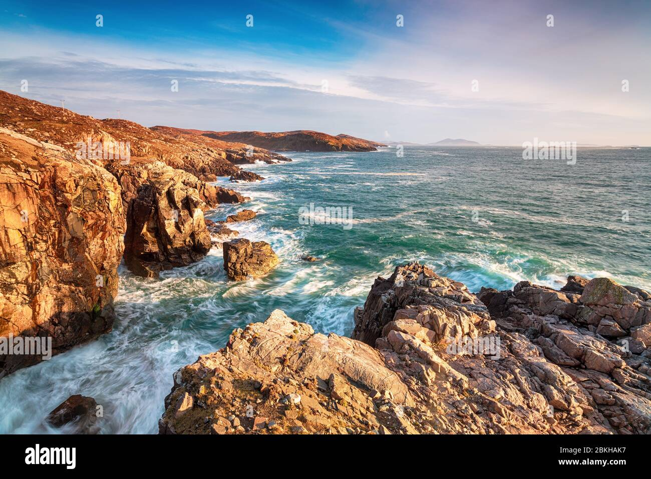 The rugged coastline and cliffs at Hushinish on the west coast of the Isle of Harris in the Outer hebrides of Scotland Stock Photo
